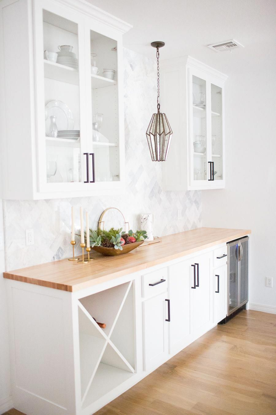 Tulsa Remodel Reveal Modern White Farmhouse With Black Windows And Doors Kitchen Cabinets Decor Butcher Block Countertops White Cabinets Kitchen Cabinet Design
