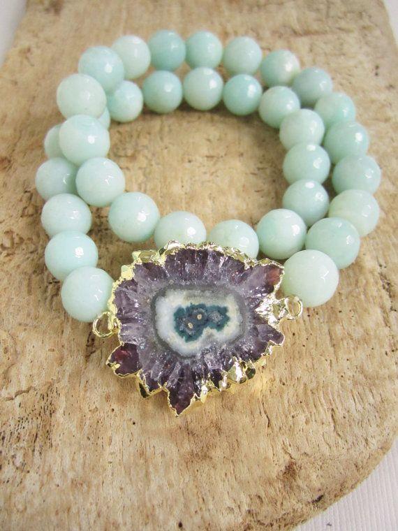 Amethyst Stactite Bracelet amethyst slice bracelet amethyst jewelry sterling silver gemstone jewelry Druzy bracelet sterling silver