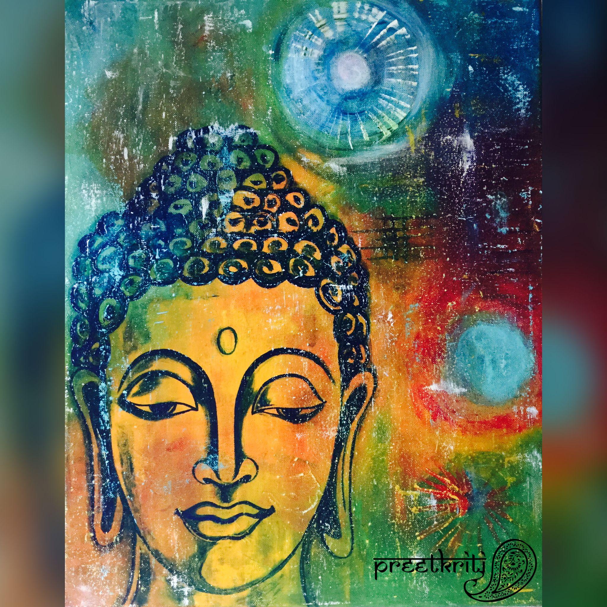 Buddha Inner Calm Acrylic On 16 20 Canvas By Pratibha Madan Preetkriti Buddha Art Painting Buddha Painting Canvas Buddha Art