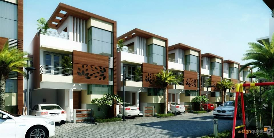 Signature Villas By Altitude Infrastructures Design Quest Architects Modern Houses Homify Small Row House Design Row House Design Modern House Facades