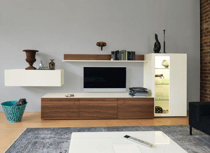 Meubles Salon En Bois 1 Meuble Tv 2 Vitrines Murales Et 1 Etagere Aura Ramis Meuble Bas Salon Deco Meuble Tv Salon En Bois