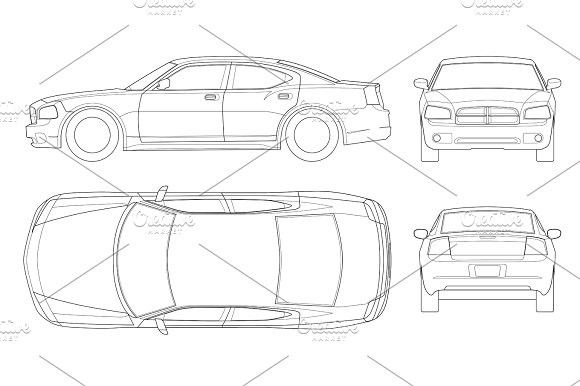 Sedan Car In Outline Business Sedan Vehicle Template Vector Isolated On White View Front Rear Side Top All Elements In Groups Sedan Cars Sedan Car Ins