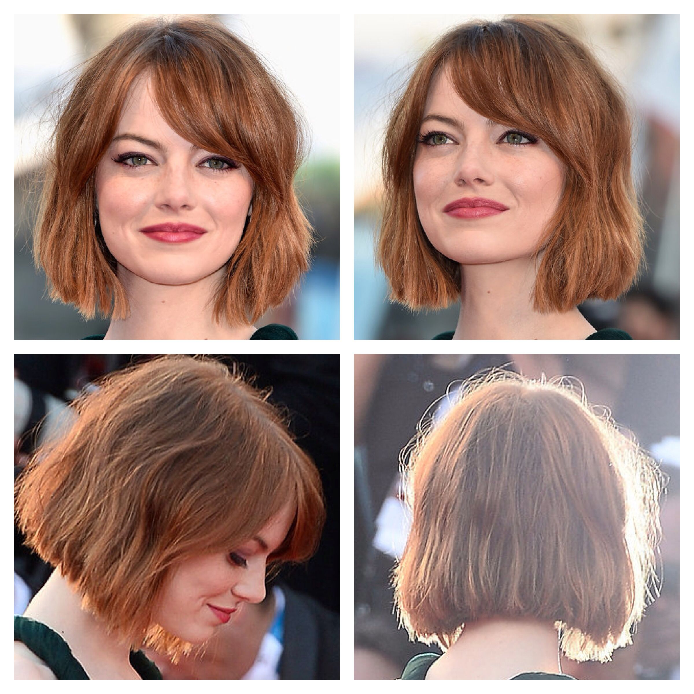 Emma Stone rocking a short lob.  Short hair with bangs, Short