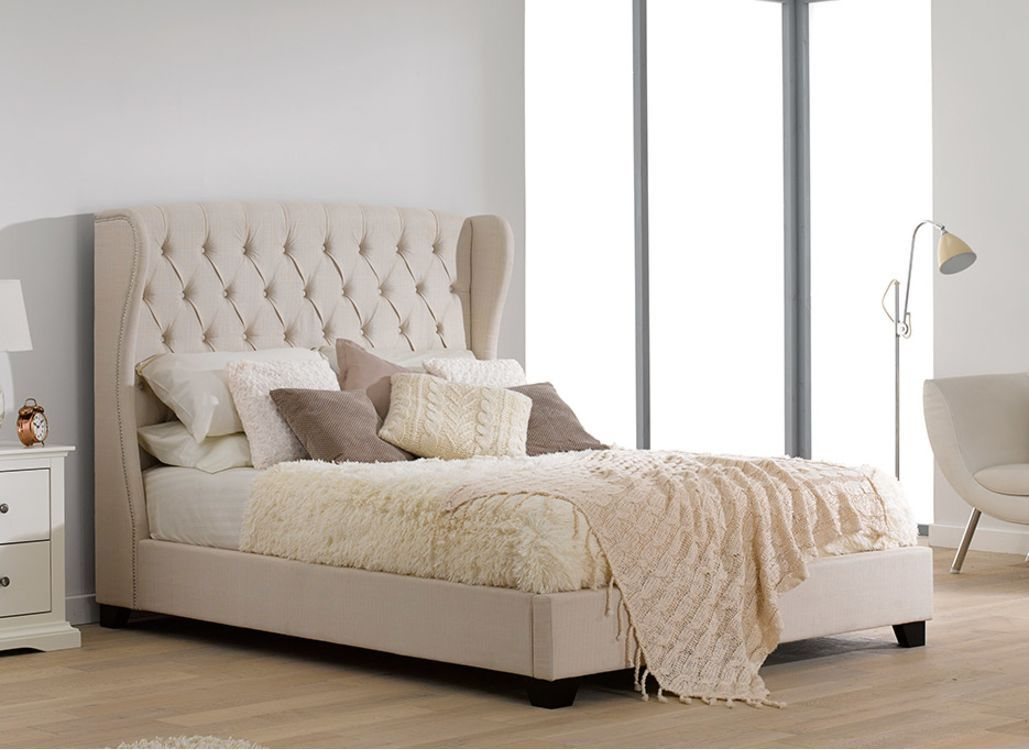 Atherton Cream Fabric Upholstered Bed Frame Upholstered Bed