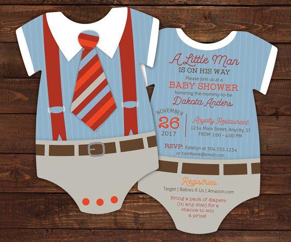 10 Suspenders Baby Shower Invitations, Tie invitation, Geeky Baby Shower, Onesie Die Cut shaped, Little Man Invite, Bow tie