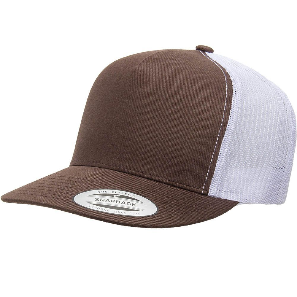 Flexfit Yupoong 6006T 5 Panel Classic Trucker 2 Tone Snapback Hat Wholesale   Brown White  2a73bdd8466e