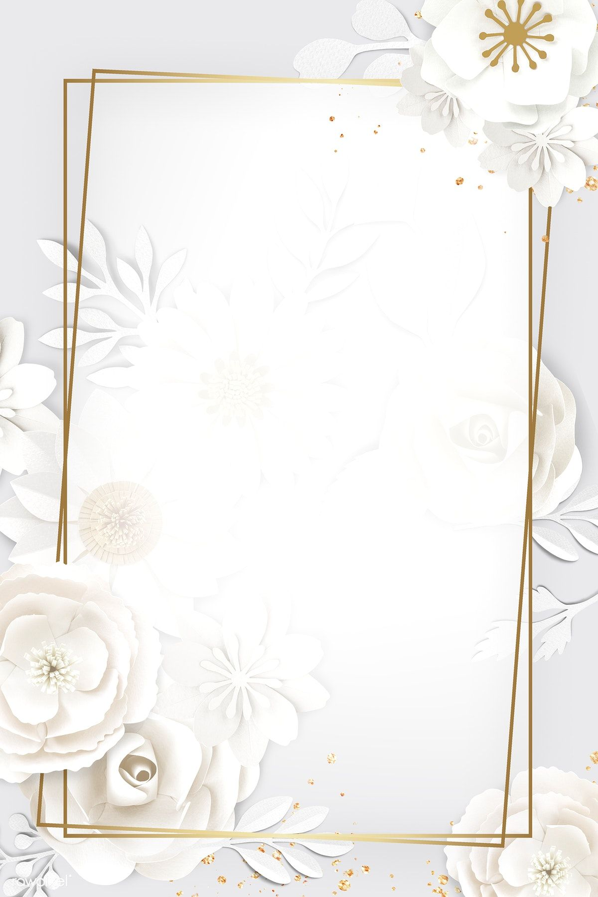 Download Premium Psd Of Rectangle Paper Craft Flower Frame