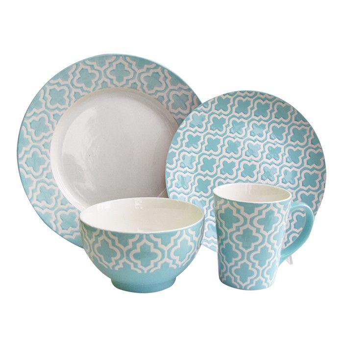 16 Piece Quatrefoil Dinnerware Set  sc 1 st  Pinterest & 16 Piece Quatrefoil Dinnerware Set | Food For Thought | Pinterest ...