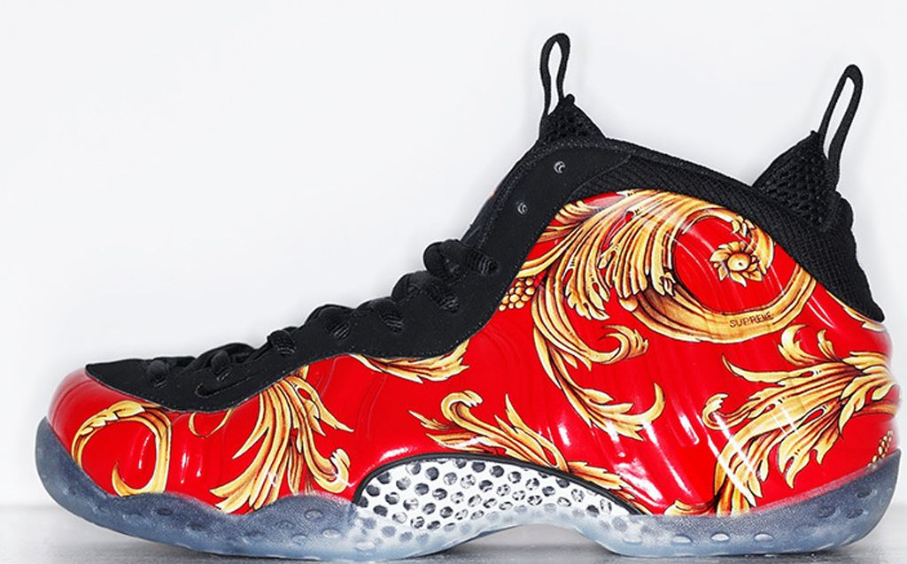 Nike Foamposite One Supreme NYC Red Sneakers (Red/Gold)