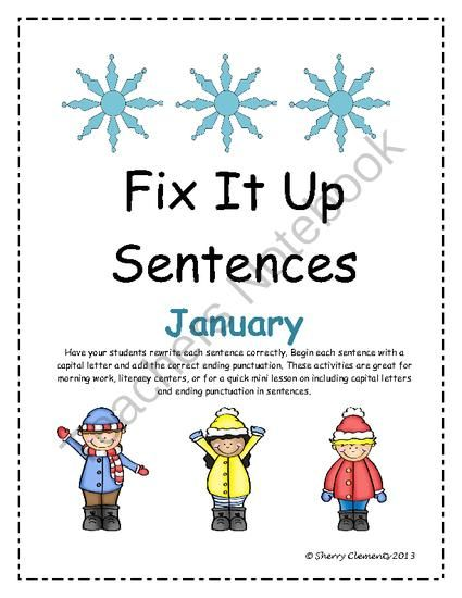 Giveaway Happy New Year Fix It Up Sentences January Capital Letters And Ending Punctuation 6 Short Stories For Students Sentences First Grade Lessons