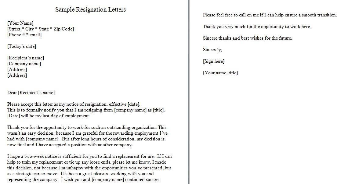 Two weeks notice 23 Resignation letter, Resignation