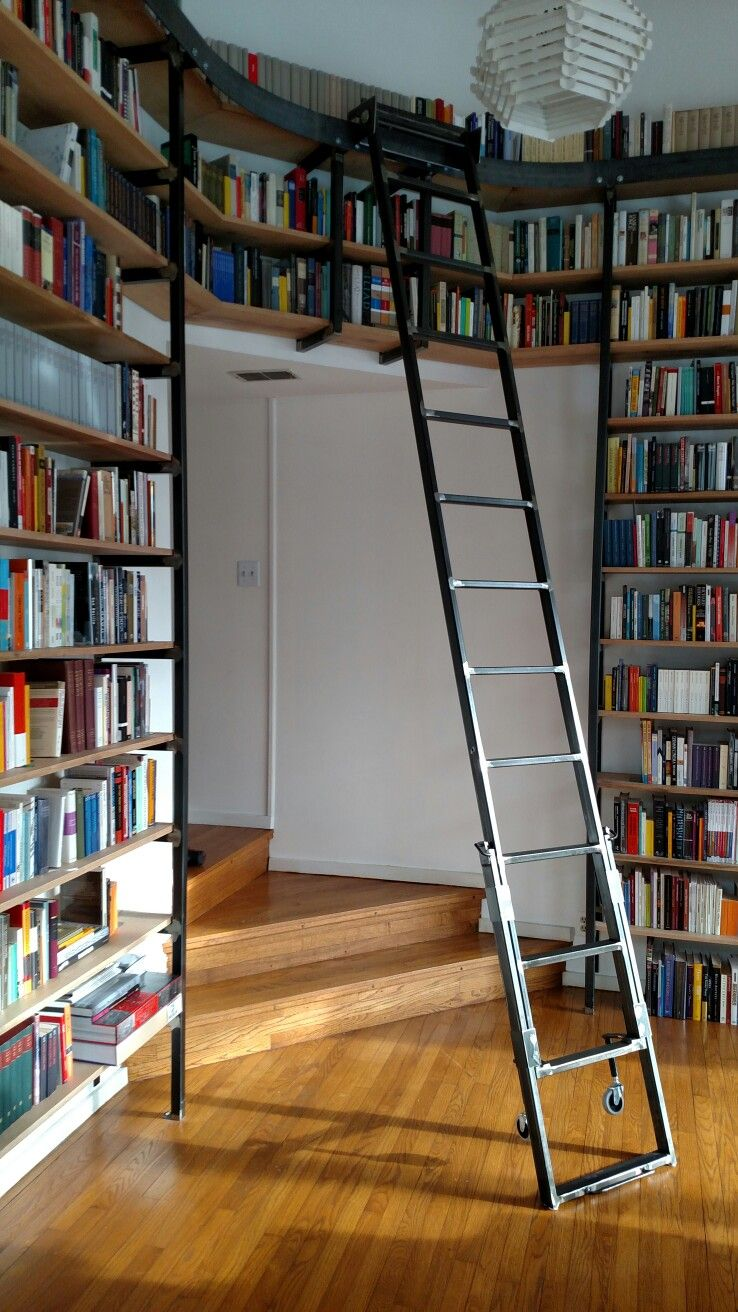 custom made ironmetal library book shelving with metal rolling ladder state college pa - Metal Library Bookshelves