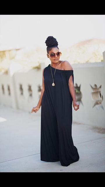 Black off the shoulder wide leg Jumper  can be worn 3 different ways