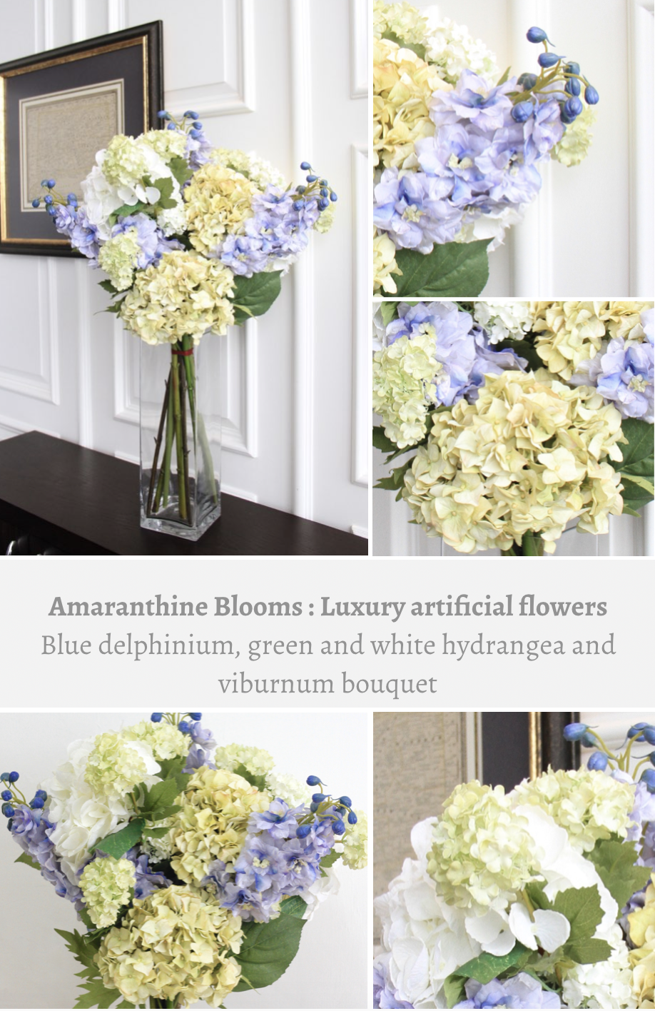 Luxury Artificial Flowers From Amaranthine Blooms Are The Most Realistic Silk Perfectly Imitating Real Thing Tall Blue Delphiniums Green And