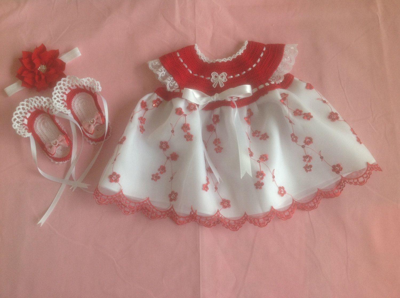 Handmade Crochet Newborn Baby Girl Dress Set - Red & White by MiBeba on Etsy