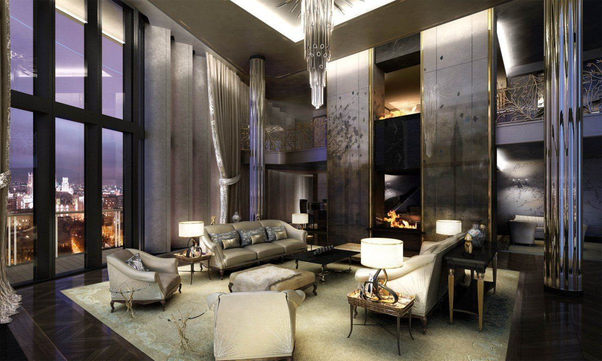 A Sleek Art Deco Inspired Living Room 1200 X 720 Luxury Interior Penthouse Living Luxury Interior Design