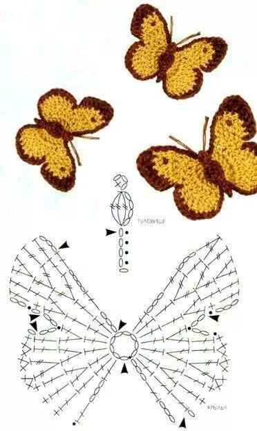 Bonito | Crocheted crafts | Pinterest | Häkeln, Schmetterlinge und ...