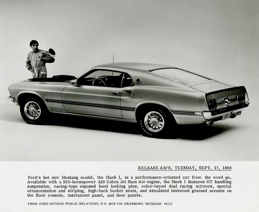 Ford Mustang Mach 1 Press Release 1968 Jpg 879 720 Pixels Vintage Muscle Cars Vintage Mustang Ford Mustang Shelby Cobra