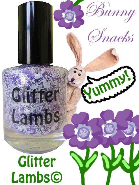 Bunny Snacks Purple And White Glitter Topper by GlitterLambsPolish