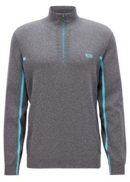 0b822335f Hugo Boss Zipper-neck sweater in an organic-cotton L Grey | Men's ...