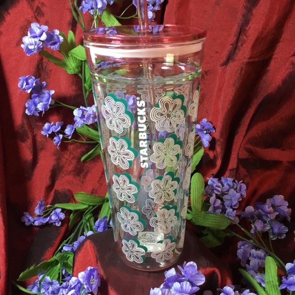 f85412273fc Starbucks Coffee Glass Cold Cup Tumbler w Straw Cherry Blossom Sakura NWT # Starbucks