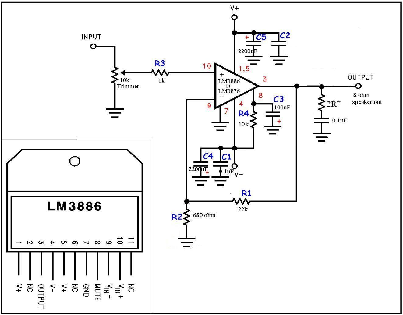 lm3886 amplifier gainclone
