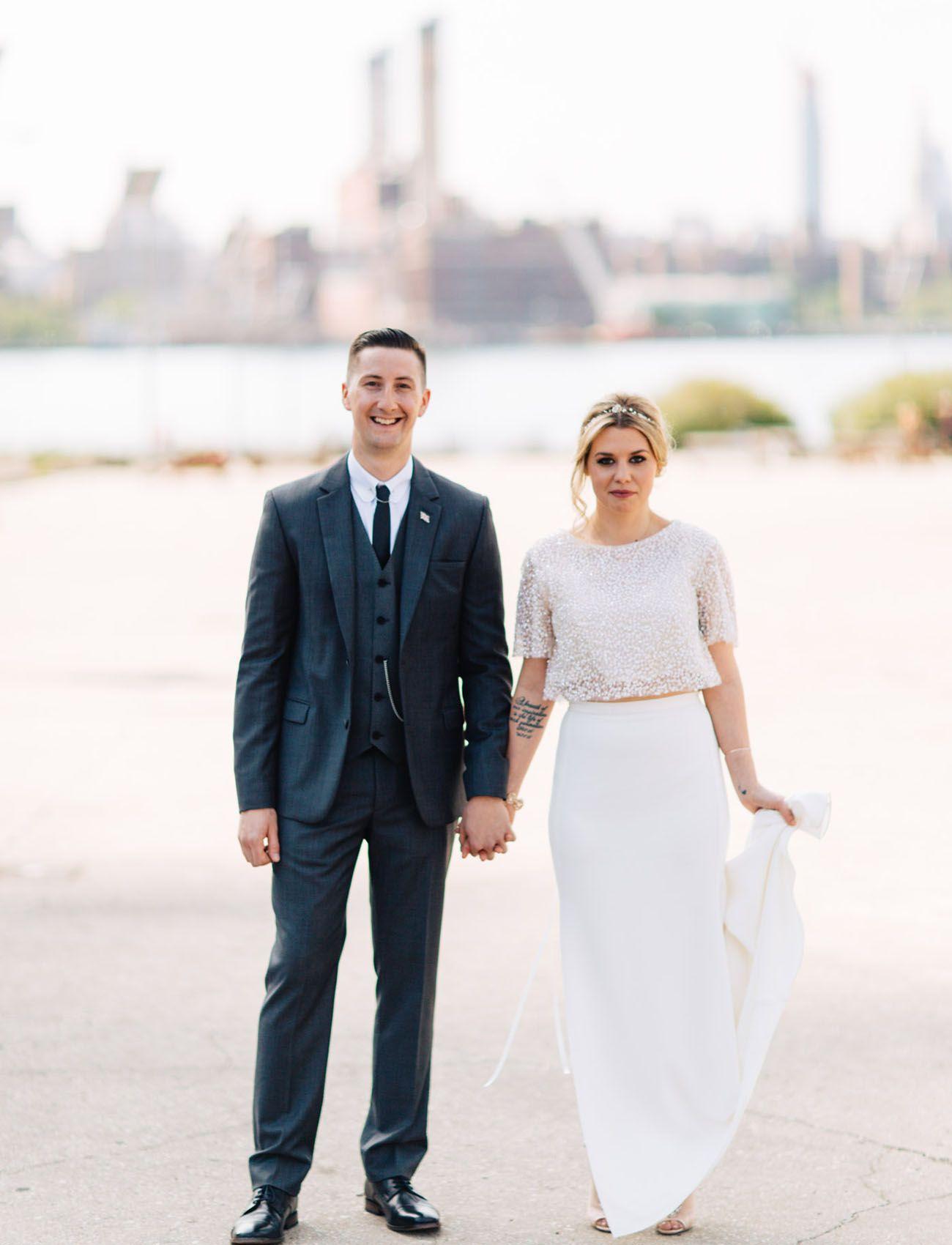 Wedding dresses brooklyn  LOVE her two piece look  Brooklyn Winery Wedding  by The Hons