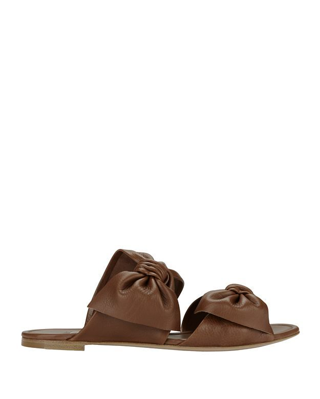 CASADEI Tango Double Bow Strap Flat Leather Sandals. #casadei #shoes #flats