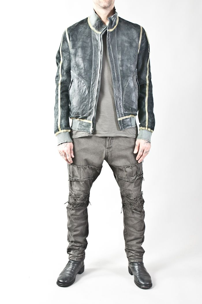 reversible leather bomber w/ rubber joined seams — re. porter
