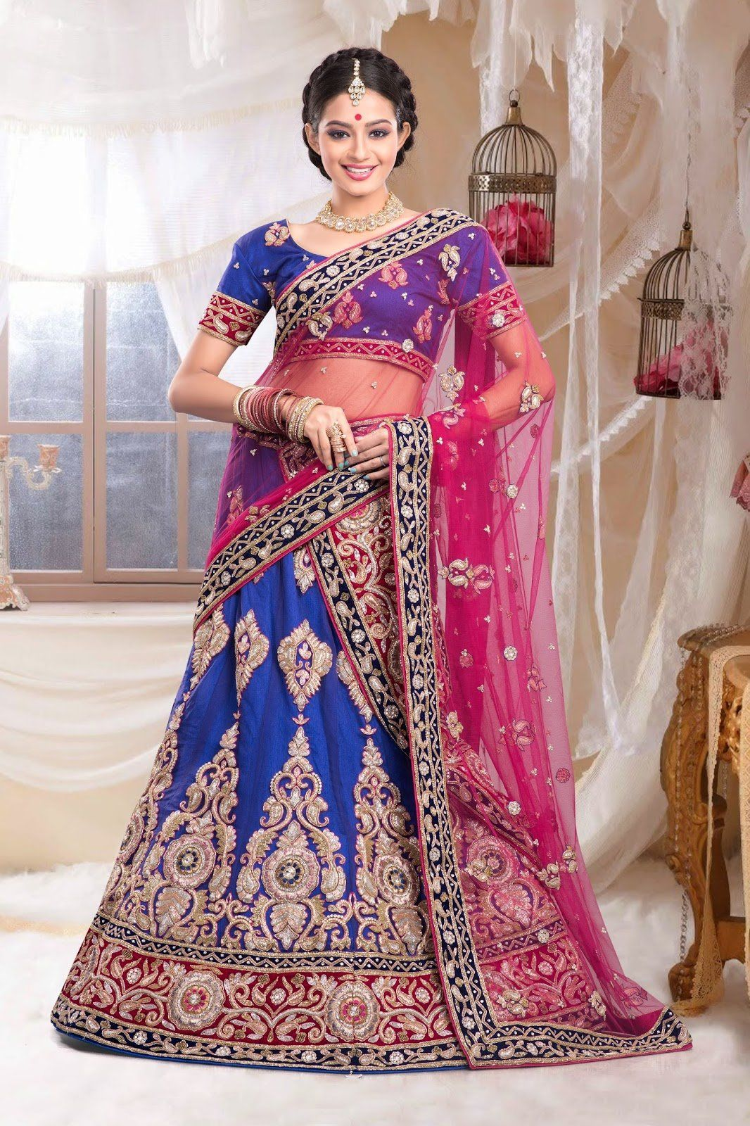 Denim Blue embroidered bridal lehenga choli in Denim Blue fabric ...