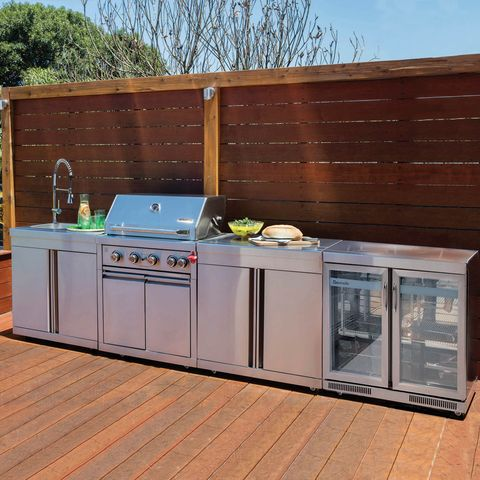 The Gasmaster Hero Outdoor Kitchen Includes Stainless Steel 4 Burner Gas Bbq With Practical Modular Outdoor Kitchens Kitchen Bar Design Outdoor Kitchen Island
