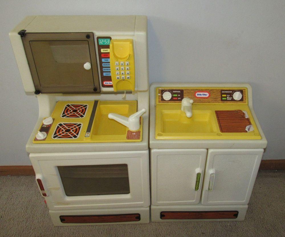Vintage Little Tikes Kitchen Oven Dishwasher Pretend Play Child