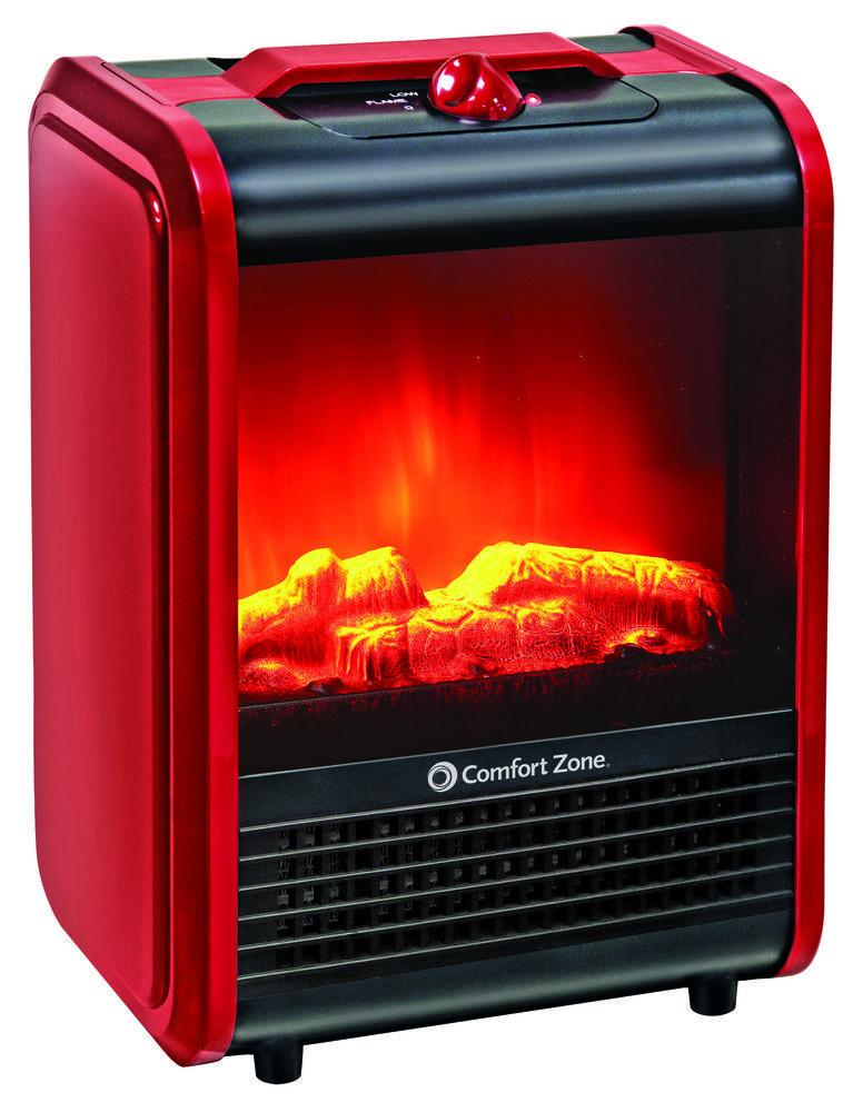Portable Electric Mini Fireplace Space Heater Red Ceramic Desk