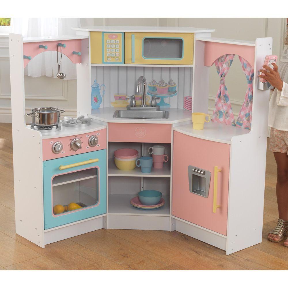 Pastel Corner Pretend Play Kitchen Combo Set Home Kids Children