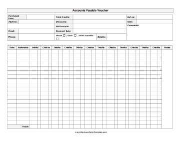 Payment Voucher Sample Classy An Accounts Payable Voucher Form With Columns For Debits And Credits .