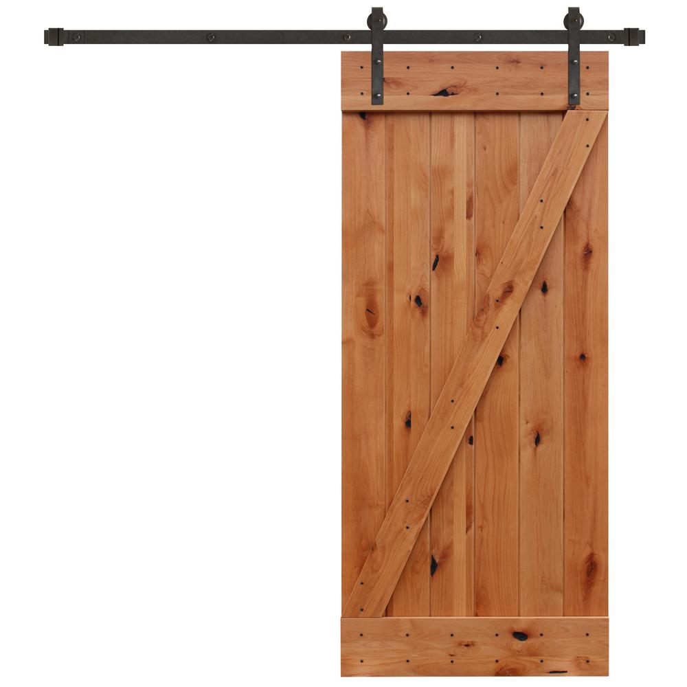Pacific Entries 36 In X 84 In Rustic Unfinished Plank Knotty Alder Sliding Barn Door Kit With Oil Rubbed Bronze Hardware Kit Ua3100 3684 The Home Depot Barn Doors Sliding Barn Door