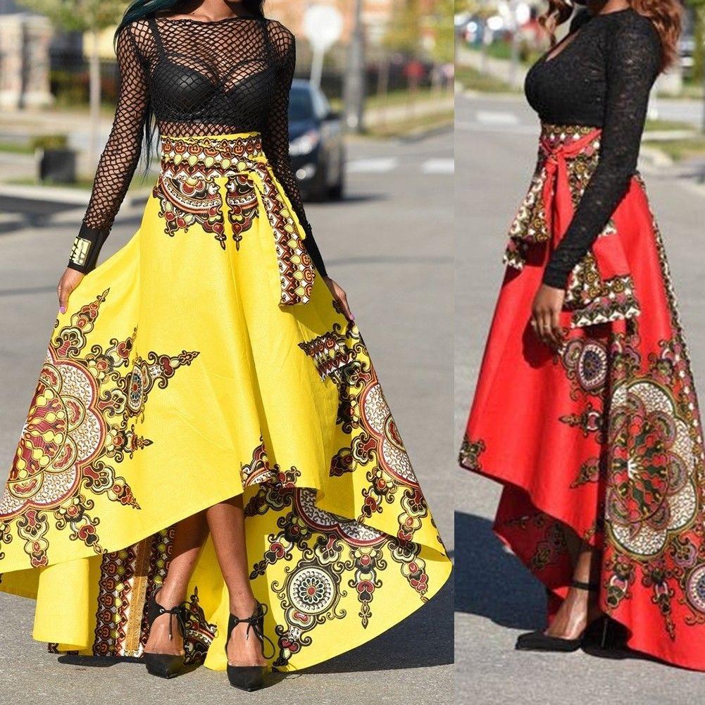 Women african printed summer boho long dress beach evening party