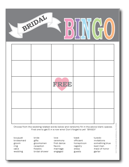 printable bridal shower bingo card