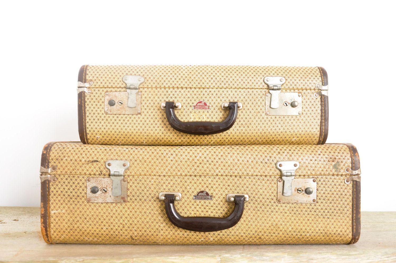 Set of Vintage Suitcases //  Tweed Luggage with by theweekendshop, $85.00