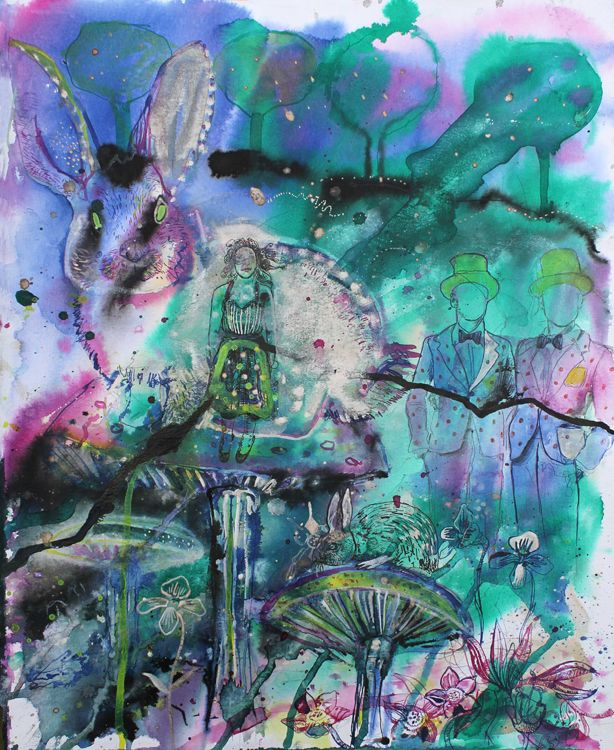 Alice in Wonderland # 4 / 2013 / acrylic and ink on paper /50 x 40 cm by Stefan Venbroek