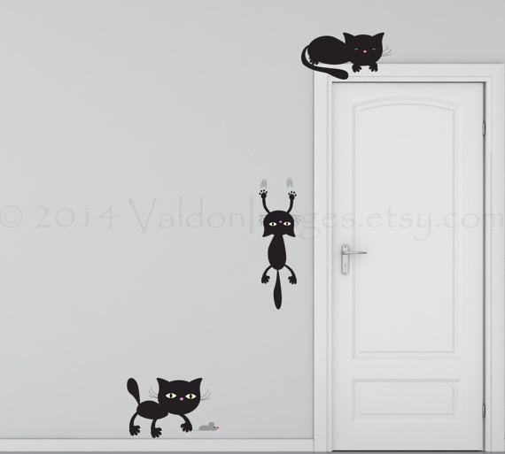 Playful Cats Wall Decal Kitten Wall Sticker Wall Graphic - Vinyl decal cat pinterest