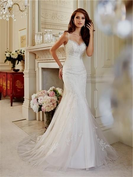 d16faa70a3b95 Rouched Wedding Dress, Spaghetti Strap Wedding Dress, Wedding Dresses With  Straps, Sweetheart Wedding