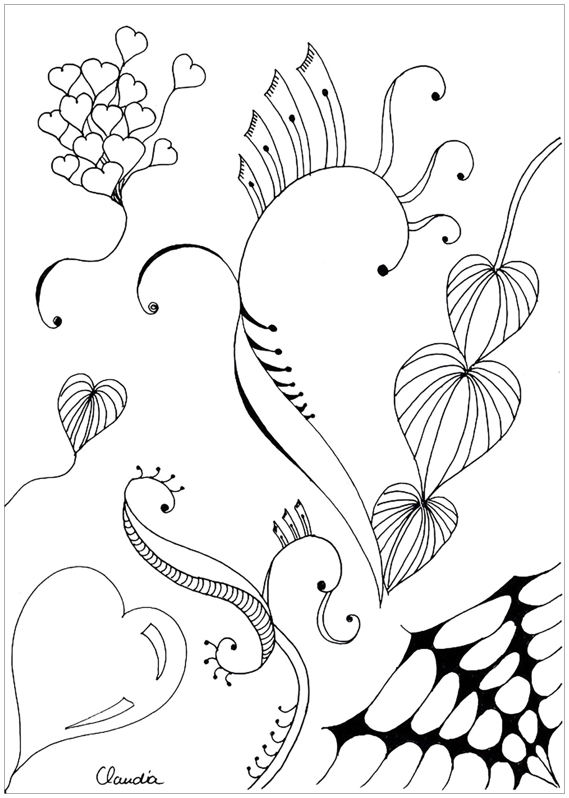 Free coloring page coloringadultzentanglesimpleby