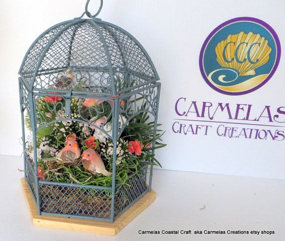 Bird cage decor with mushroom birds by CarmelasCreations on