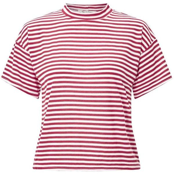5cd89d585613a Miss Selfridge Red Striped Funnel Neck T-Shirt ( 32) ❤ liked on Polyvore