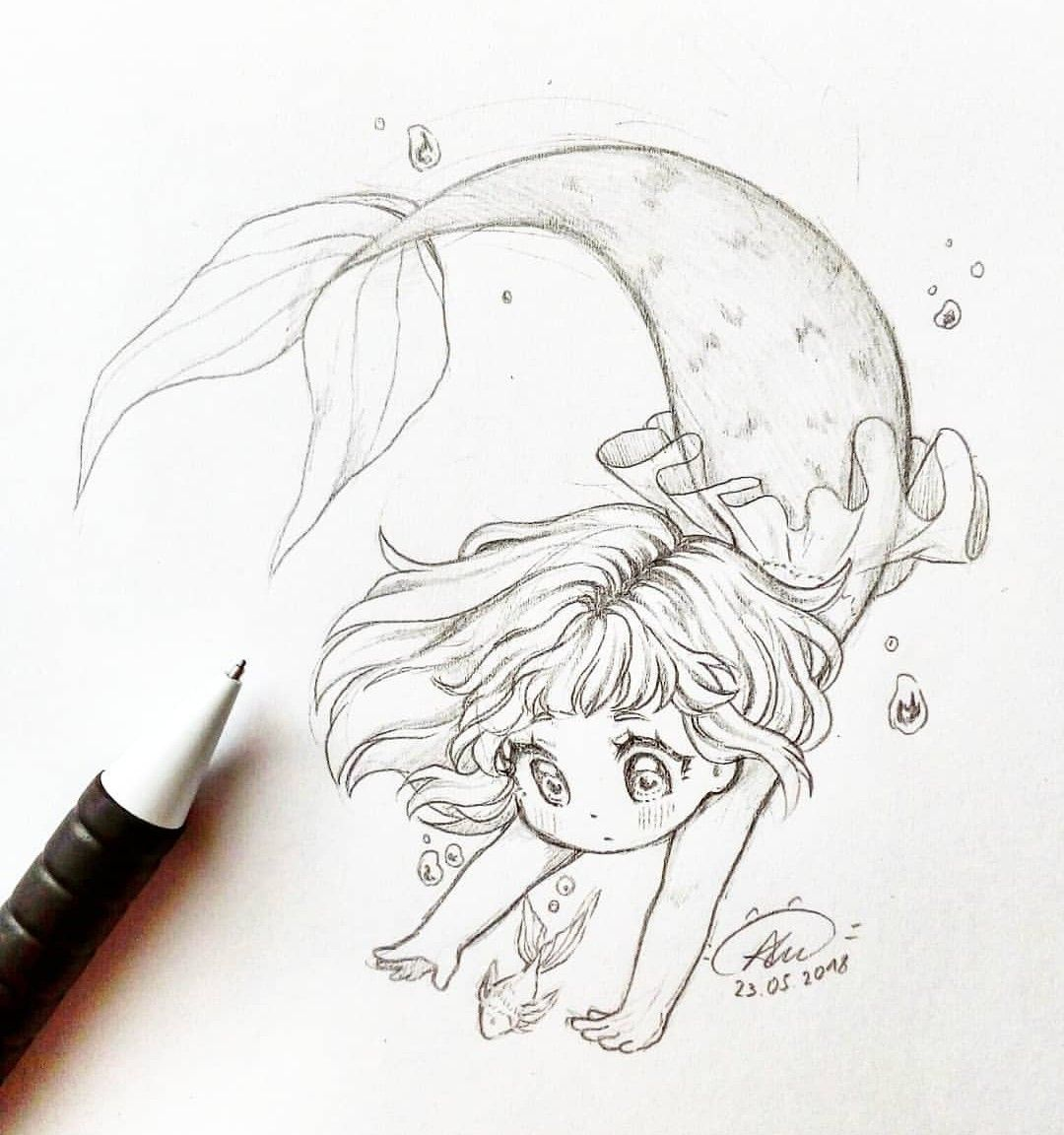 Baby Mermaid Drawing With Images Mermaid Drawings Chibi