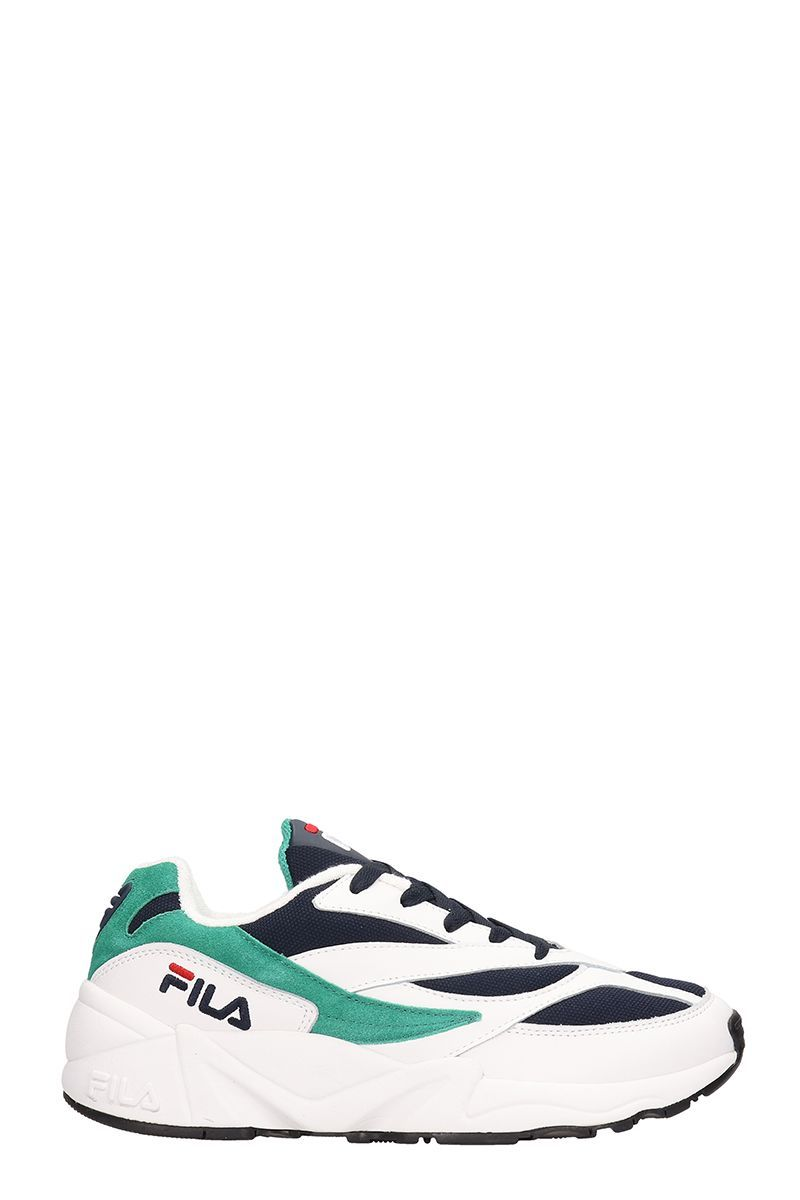 FILA WHITE GREEN LEATHER AND FABRIC 94 LOW SNEAKERS. #fila
