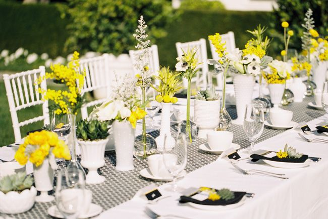tischdeko #17 - gelb, weiß, grau / table decoration - yellow, white, grey