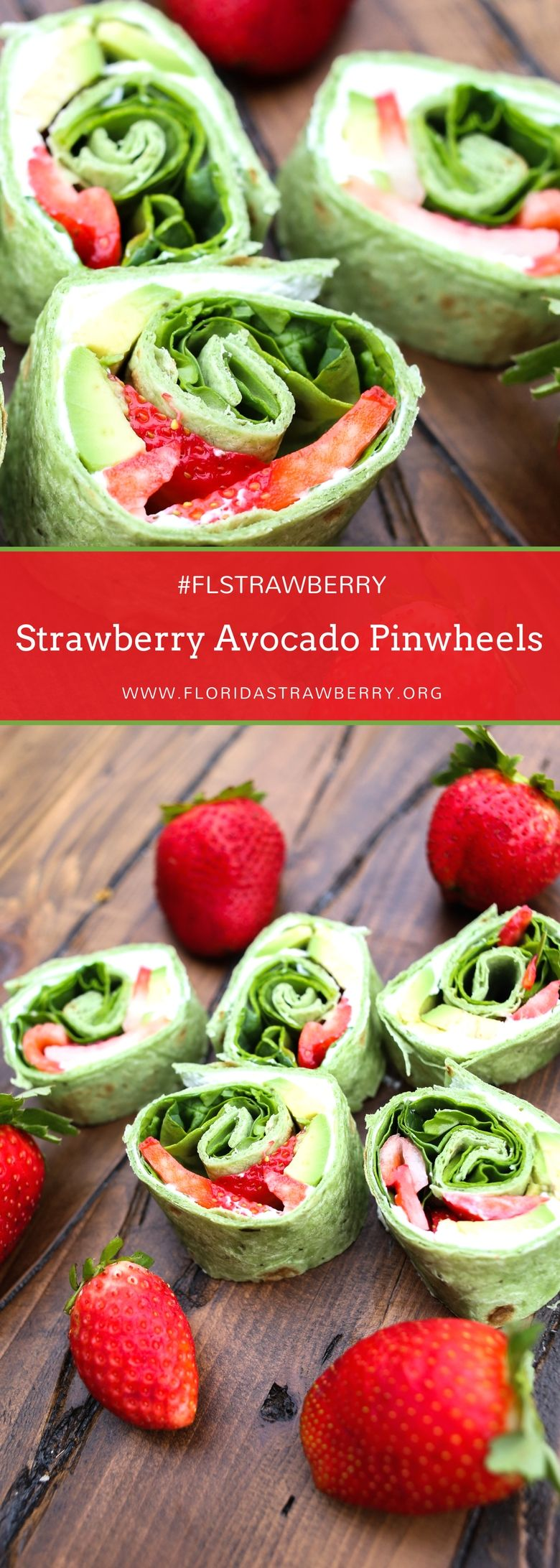 We have the richness of the avocados, the sweetness of the strawberries, a bit of tang from the lemon goat cheese, the bite of red onion, and the crunch from raw spinach leaves…. These little strawberry avocado pinwheels are such a great, fresh bite to enjoy as an appetizer, and they're so easy to put together! #FLStrawberry #strawberryrecipes #strawberries #avocado #easyrecipe
