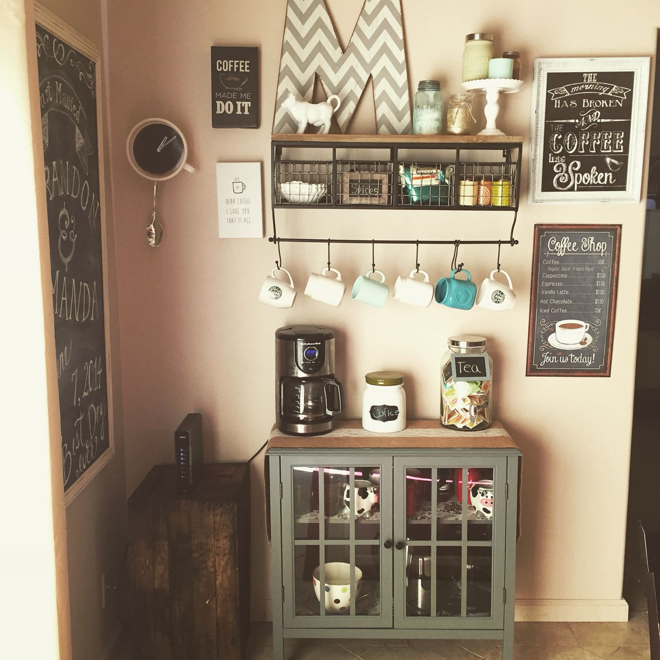 Coffee Signs Kitchen Decor Discount Cabinets Nj Bar Mug Shelf/holder From Hobby Lobby $120 (buy On ...